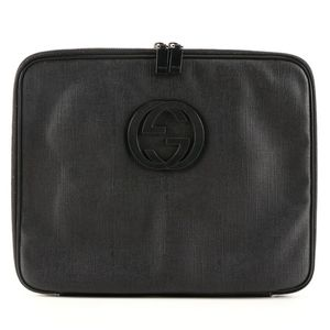 Gucci GG Laptop Bag in Black PVC with Leather Trim